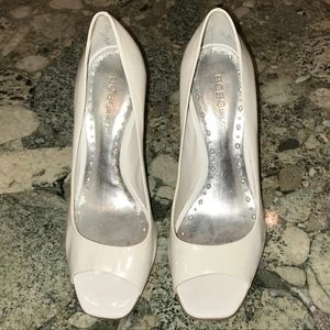 BCBG White Patent Leather Open Toe Heels Size 7.5